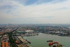 Cargo and passenger seaport in surabaya, java, indonesia. Aerial view cargo and passenger seaport with ships and crane Tanjung Perak, surabaya, indonesia. docks stock photography