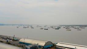 Cargo and passenger seaport in surabaya, java, indonesia. Aerial view cargo and passenger seaport with ships Tanjung Perak, surabaya, indonesia. cargo and royalty free stock photos