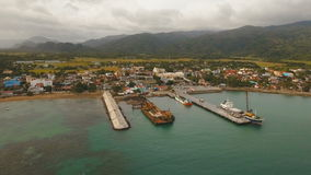 Cargo and passenger transit port aerial view .Catanduanes island, Philippines. stock footage