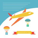 Cargo plane dropping boxes. Royalty Free Stock Image