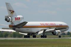 Cargo plane - full braking action Stock Photos