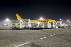 Cargo Plane At Night Stock Photography