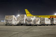 Cargo Plane At Night Stock Photo