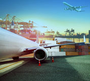 cargo plane and ship loading container for logistic and transport business stock photography