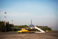 Cargo plane trap blue sky Royalty Free Stock Image