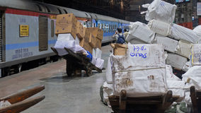 Cargo on the platform. MUMBAI,  INDIA - OCTOBER 27, 2016: Cargo for loading on the early morning Shatabdi Express train at Victoria railway terminus  Chatrapati Stock Photos
