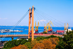 Cargo port. A modern cargo port with cranes Stock Images