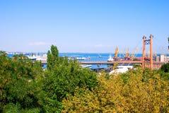 Cargo port. A modern cargo port with cranes Stock Photos