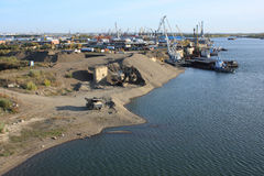 Cargo Port. Russia. Tomsk. Tom River at the entrance to the city of Seversk, Cargo Port Royalty Free Stock Photo