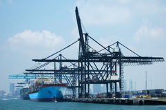 Cargo Port. Cargo ships loading containers at Port of Miami Royalty Free Stock Photography
