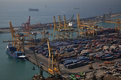 Cargo Port in Barcelona Royalty Free Stock Photo