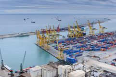Cargo Port in Barcelona. Aerial view of harbour with containers in Barcelona, Spain Stock Photo