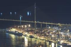 Cargo Port and bridge Royalty Free Stock Photography