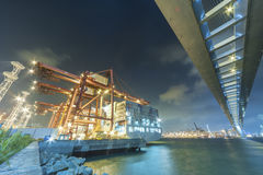 Cargo port and bridge stock images