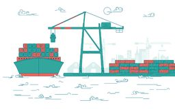 Cargo port. Concept of global transportation, graphic of cargo port with operating equipment, vector of crane loading on industrial ship Stock Images