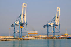 Cargo port crane. The cargo crane in the port of Limassol Stock Photos