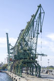 Cargo port  with cranes, Europe in sunny day. Cargo port  with green cranes , Bulgaria, Europe Stock Image