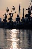 Cargo port cranes stock photo