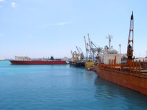 Cargo port. Cyprus industrial port for cargo ships Royalty Free Stock Image