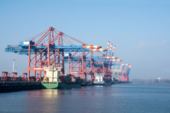 Cargo port of Hamburg on the river Elbe, Germany Royalty Free Stock Images
