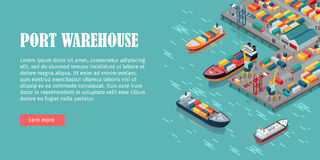 Cargo Port Illustration in Isometric Projection Stock Photo
