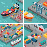 Cargo Port Illustrations in Isometric Projection. Set of cargo port vector illustrations. Isometric projection. Ships with steel containers standing on the berth Stock Photos