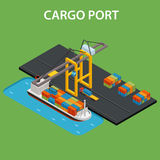 Cargo port isometric. Cargo port concept with industrial ship loading isometric vector illustration Royalty Free Stock Image