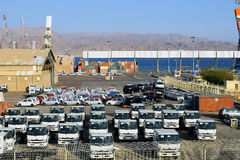 Cargo port and new cars for sale, Eilat, Israel Stock Photography