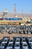 Cargo port and new cars for sale, Eilat, Israel Stock Images