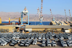 Cargo port and new cars for sale, Eilat, Israel Stock Photo