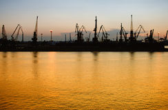 Cargo port at night Stock Photo