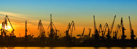 Cargo port at night Royalty Free Stock Photos