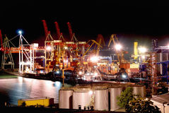 Cargo port at night Royalty Free Stock Images