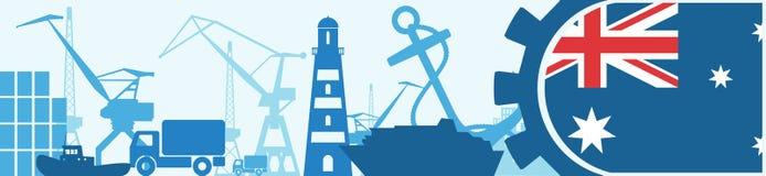 Cargo port relative icons set. Australia flag in gear. Vector illustration for web banner or header Stock Image