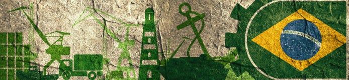 Cargo port relative icons set. Brazil flag in gear. Concrete textured illustration for web banner or header Stock Image