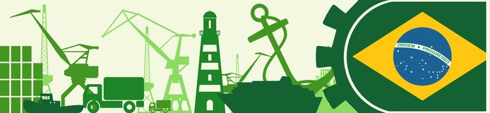Cargo port relative icons set. Brazil flag in gear. Vector illustration for web banner or header Stock Photo
