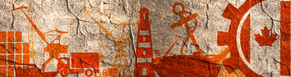 Cargo port relative icons set. Canada flag in gear. Concrete textured illustration for web banner or header Stock Image