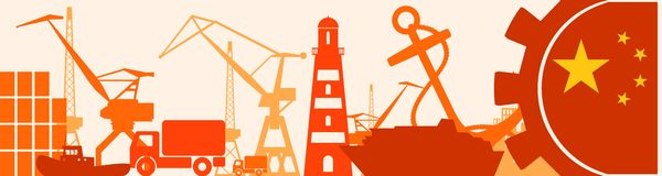 Cargo port relative icons set. China flag in gear. Vector illustration for web banner or header Stock Photo