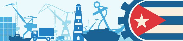 Cargo port relative icons set. Cuba flag in gear. Vector illustration for web banner or header Royalty Free Stock Image