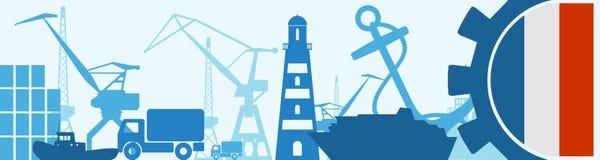 Cargo port relative icons set. France flag in gear. Vector illustration for web banner or header Stock Images