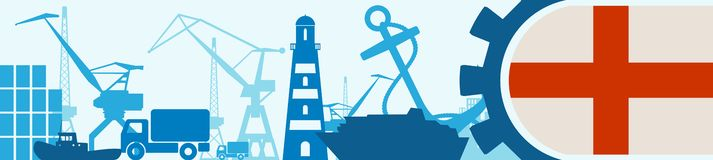 Cargo port relative icons set. Genoa flag in gear. Royalty Free Stock Photo