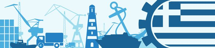Cargo port relative icons set. Greece flag in gear. Stock Images