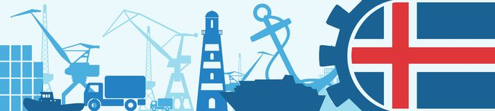 Cargo port relative icons set. Iceland flag in gear. Vector illustration for web banner or header Royalty Free Stock Photo