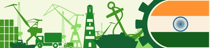 Cargo port relative icons set. India flag in gear. Vector illustration for web banner or header Stock Photography