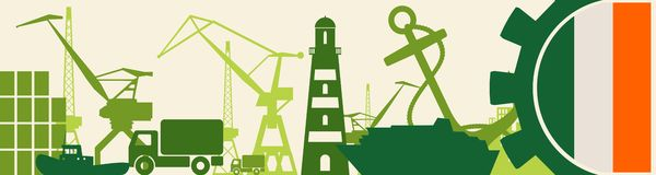 Cargo port relative icons set. Ireland flag in gear. Royalty Free Stock Images