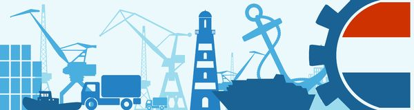 Cargo port relative icons set. Netherlands flag in gear. Vector illustration for web banner or header Stock Photos