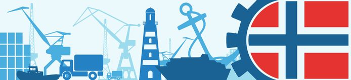 Cargo port relative icons set. Norway flag in gear. Vector illustration for web banner or header Stock Photo