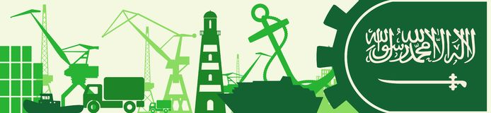 Cargo port relative icons set. Saudi Arabia flag in gear. Vector illustration for web banner or header Stock Photography