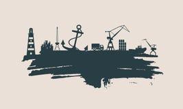Cargo port relative icons set. Stock Photo