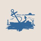 Cargo port relative icons set. Royalty Free Stock Images